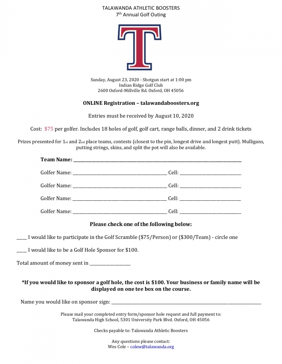 Athletic Boosters Golf Scramble